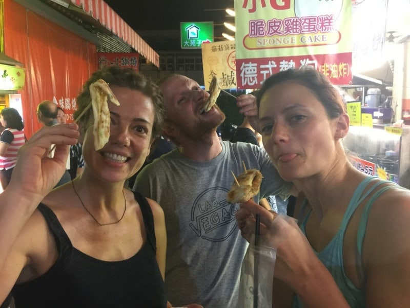 Night Markets with food on sticks!