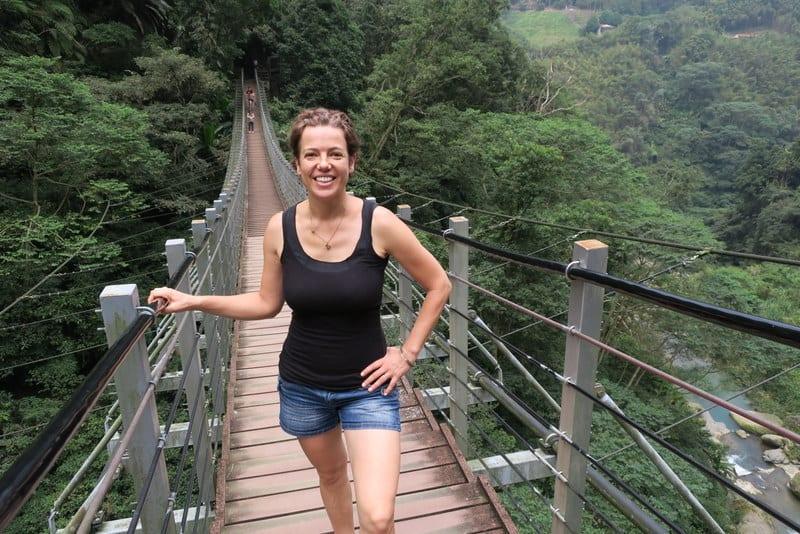 Our destination is this suspension bridge